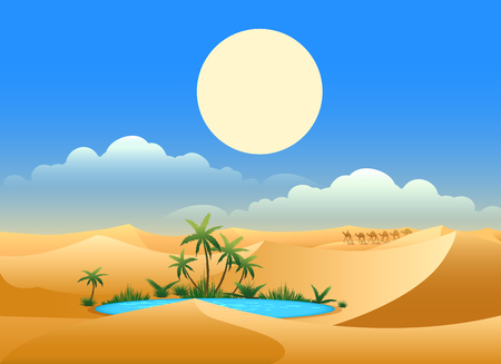 Desert oasis background. Egypt hot dunes with palm trees, bedouin and camels vector illustration