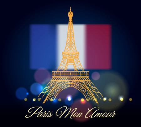 Paris mon amour poster. Eiffel tower with text Paris my love on awesome bokeh night sky with blurry france flag vector illustration