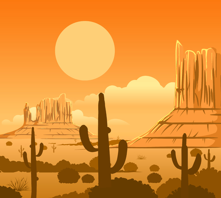 America wild west nature dusty desert landscape with arizona prairie and rocks vector background