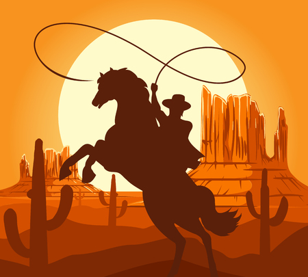 Western cowboys silhouette vector illustration. Wild west america scene with cartoon cowboy on horse in desert with mountains