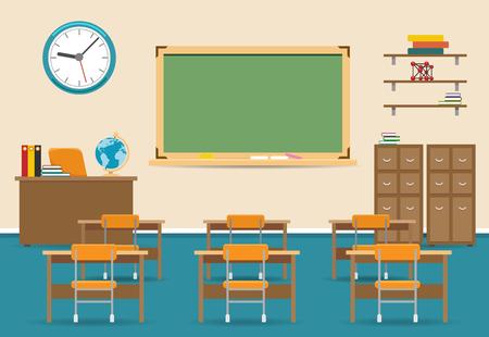 Empty classroom vector illustration. Nobody school class room interior with blackboard Ilustrace