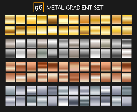 argent: Metal gradient collection. Shiny gold and silver, bronze and aluminum, roseate texture gradients with reflexions. Vector illustration