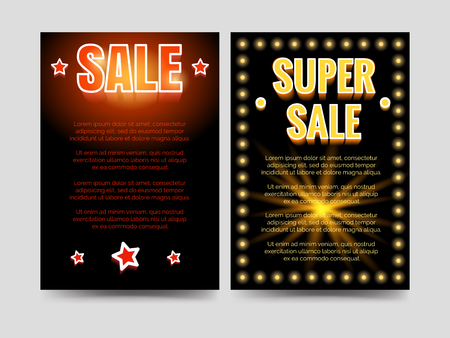 Shining sale and super sale brochure flyers template. Vector illustration Stock Vector - 79260743