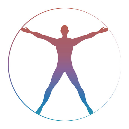 Moderne kleurrijke Vitruvian die mens op witte achtergrond wordt geïsoleerd. Vector illustratie