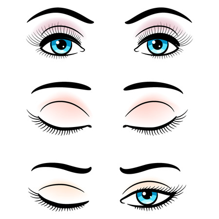 Open and closed blue female eyes isolated on white background. Vector illustration Illustration