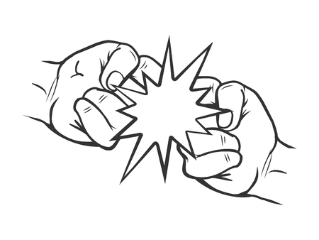 Hand drawn male fists silhouette battle isolated on white background. Vector illustration