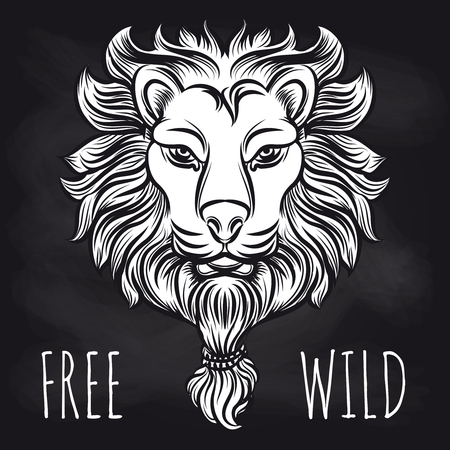 Hand drawn hipster lion on blackboard. Vector lion sketch and free wild lettering signs