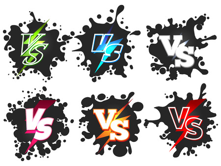 Versus or VS confrontation on black splashes shape silhouettes. Vector illustration