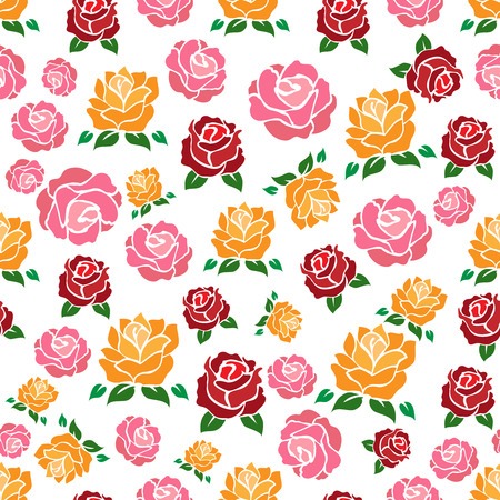 Colorul roses seamless pattern. Vector floral texture for wrapping paper, web, textile