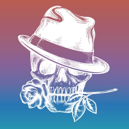 Elegant fashion human skull with rose on colorful backdrop. Vector illustration