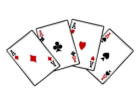 Vier Asse getrennt auf weißem Hintergrund. Vektor-Spielkarten-Objekte Standard-Bild - 79333111