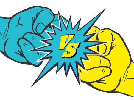 vs: Versus rivalry fist vector illustration. Male hands battle isolated on white background