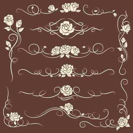 vintage ornements décoratifs décoratifs avec des roses sur fond sombre. illustration vectorielle Vecteurs