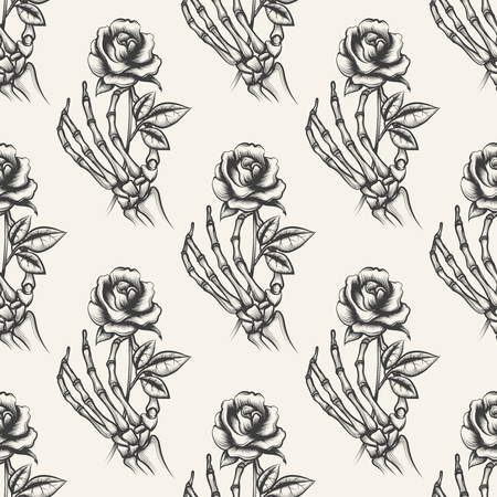 Skeleton arm sketch with rose vector seamless pattern. Background with hand drawn bones hand an flower Illustration