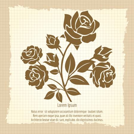 valentineday: Vintage poster with bush of roses, vector illustration Illustration