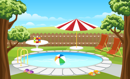 Backyard pool vector illustration