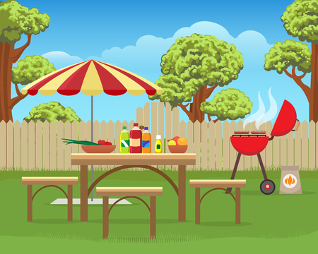 Summer backyard fun bbq or grilling barbecue party cartoon vector illustration. Home garden patio picnic lifestyle Фото со стока