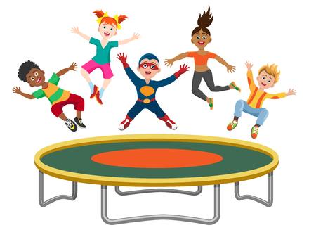 Energiekinder, die auf die Trampoline lokalisiert auf weißem Hintergrund springen. Aktive glückliche Mädchen und Jungen haben den Spaß, der auf der Trampolinevektorillustration gymnastisch ist Standard-Bild - 80066082