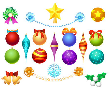 favourite: Xmas tree toys set isolated on white background. Christmas ornaments decoration balls and garlands, bells and bows vector illustration
