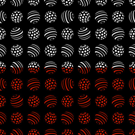 Abstract seamless borders with white and red halftone spheres, vector illustration