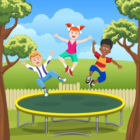 Happy jumping kids on trampoline in backyard. Funny children on courtyard playground vector illustration