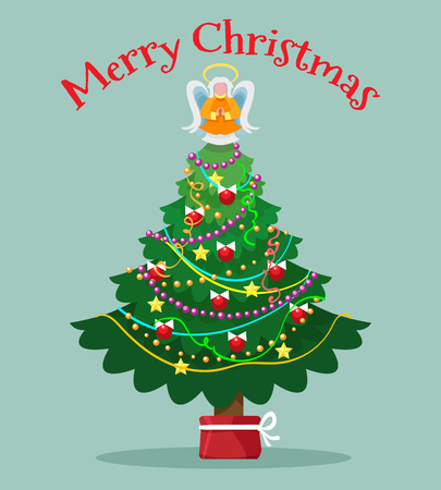 Christmas tree with topper fairy card. Xmas trees light angel vector illustration Illustration