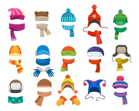 Coleção de chapelaria de inverno ou outono. Vector tricô chapéus, bonés e lenços para meninas e meninos para tempo frio, isolado no fundo branco Ilustración de vector