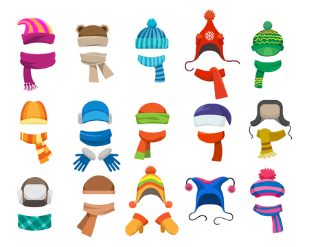Winter or autumn headwear collection. Vector knitting hats, caps and scarfs for girls and boys for cold weather isolated on white background Фото со стока - 80922051