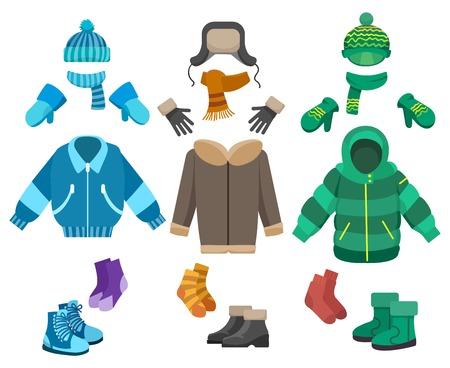 男性冬の衣類は、白い背景で隔離。男の子のベクトル図の寒い天候の服コレクション
