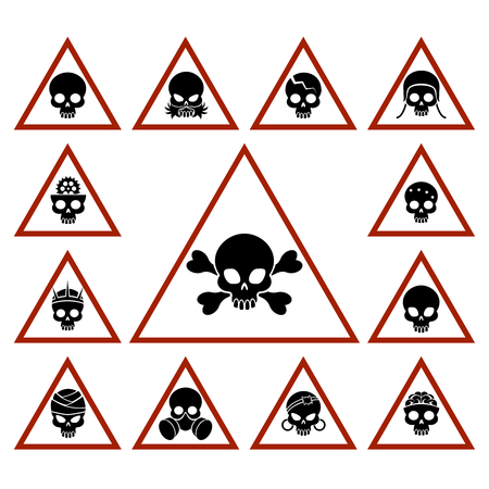 Danger icons with skulls in red triangles, vector illustration Illustration