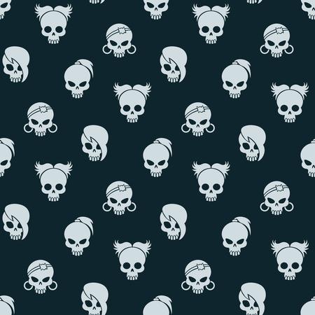 Girl skull seamless pattern. Vector cute skull seamless texture on dark background Illustration