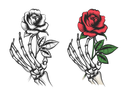 Nam bloem in menselijke skelethand toe. Vector helder en silhouet op witte achtergrond Stock Illustratie