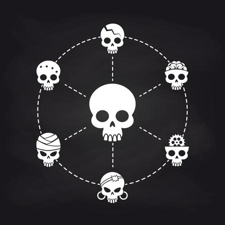 White skull icons concept on chalkboard, vector illustration Illustration
