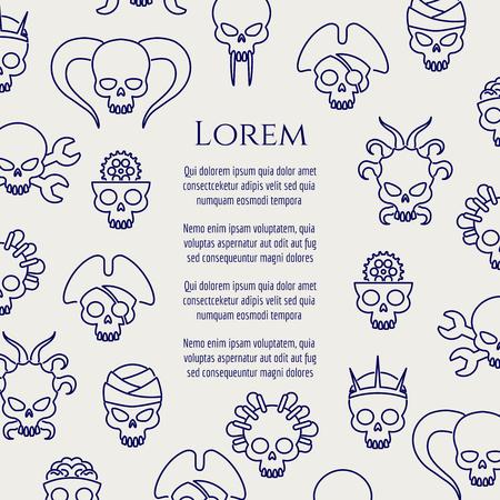 halloween tee shirt: Horror poster with line cute skulls. Vector illustration