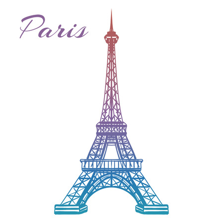 Colorful hand drawn Eiffel tower isolated on white backgound. Vector illustration