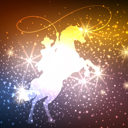 Colorful background with cowboy on horse and light splashes, vector illustration