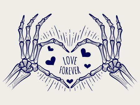 Amore sempre segno. vector disegnati a mano scheletro mani e cuori