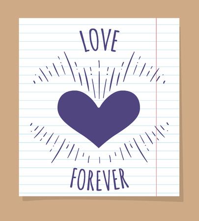 ballpen: Love forever poster on linear page, vector illustration Illustration