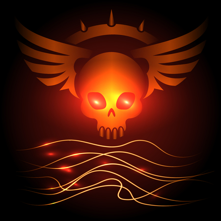 Motorbikers skull poster design with shining elements, vector illustration