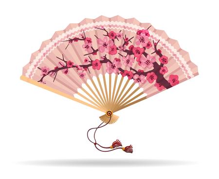 De kersenbloesem die van Japan vouwende ventilator vectorillustratie vouwen. Japanse fan met sakura tak patroon, geisha souvenir geïsoleerd op wit