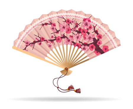 Japan cherry blossom folding fan vector illustration. Japanese fan with sakura branch pattern, geisha souvenir isolated on white