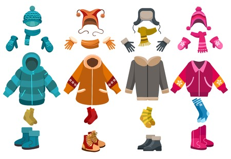 Winter clothes and cold weather accessories isolated on white background. Vector knitted hats and scarves, mittens and woolen socks Foto de archivo