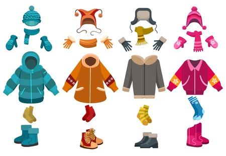Vestiti invernali e accessori per il freddo isolati su sfondo bianco. Vector cappelli e sciarpe a maglia, guanti e calze di lana Archivio Fotografico - 81318609