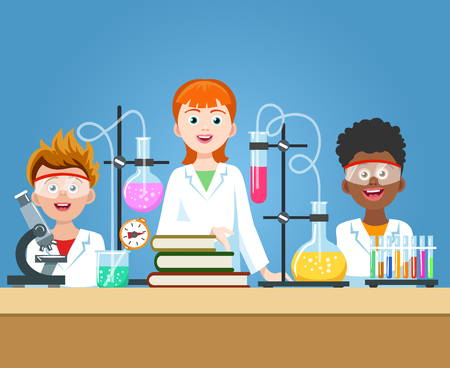 Pupils in chemistry lab. School science class laboratory with kids in safety glasses with microscope vector illustration Illustration