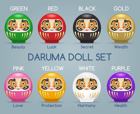 illustrates: A vector colored Japan Daruma monk dolls. Gold and green, yellow and white japanese darumas. Illustration