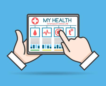 Tablet telehealth concept, remote medical doctor monitoring, health or mobile medic help vector illustration Illustration