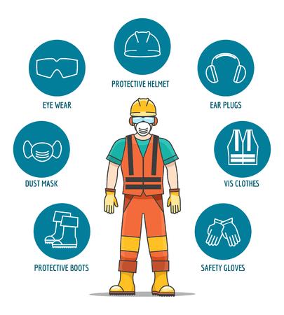Equipamentos de proteção e segurança ou ilustração em vetor ppe. Ícones de capacete e óculos, luvas e fones de ouvido para proteção do trabalho do trabalhador Ilustración de vector