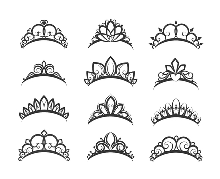 Vector tiara set. Beautiful queen tiaras or princess crown silhouettes for wedding cards and vignettes