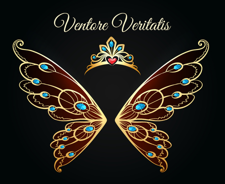 Wings and tiara princess jewelry gold logo. Luxury jewellery diamond fashion vector emblem