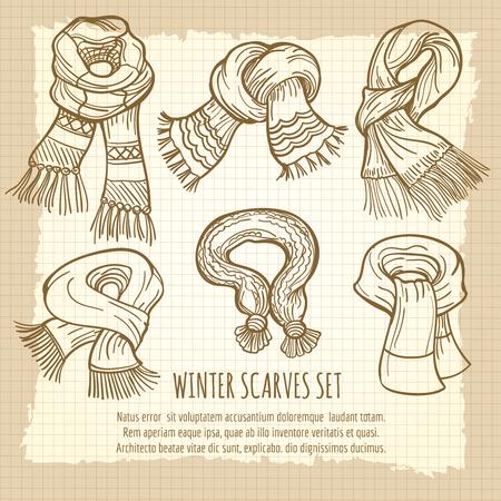 elves: Hand drawn winter scarves set on vintage backdrop, vector illustration